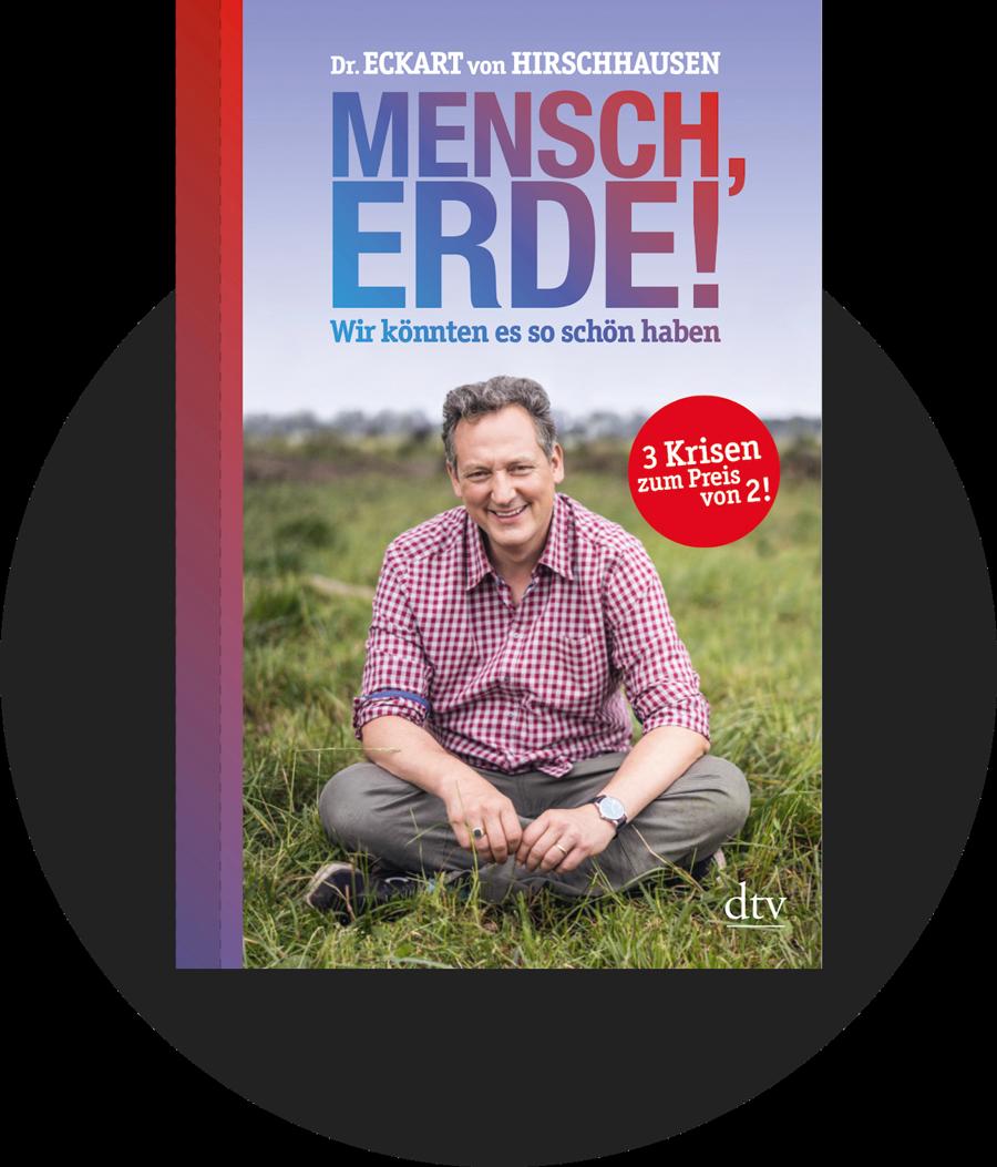 """Cover des Buches """"Mensch, Erde! Wir könnten es so schön haben"""": Zu sehen ist der Autor Eckart von Hirschhausen auf einer Wiese sitzend"""