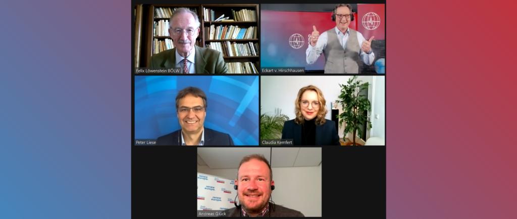 Screenshot mit Teilnehmer:innen der Online-Diskussion zum EU Green Deal