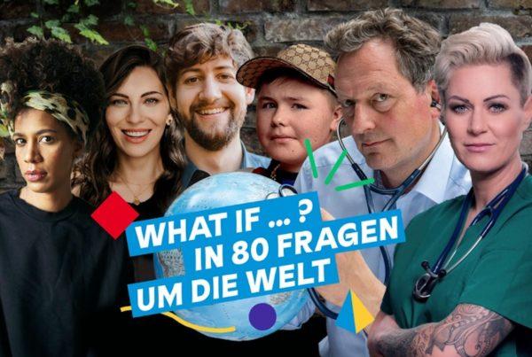 """Foto von Jasmina Kuhnke, Masha, Robin Blase, Carl Joseph, Eckart v. Hirschhausen, Doc Caro, Teilnehmende der Instagram-Kampagne """"WHAT IF…? In 80 Fragen um die Welt""""; © Endemol Shine Germany"""